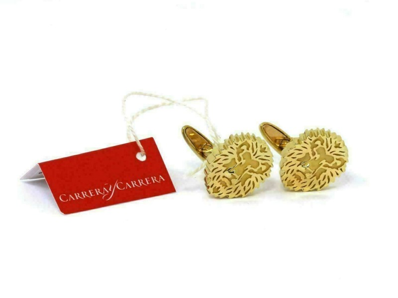 Carrera y Carrera Lion Head 18k Yellow Gold Cufflinks Rt. $3,650