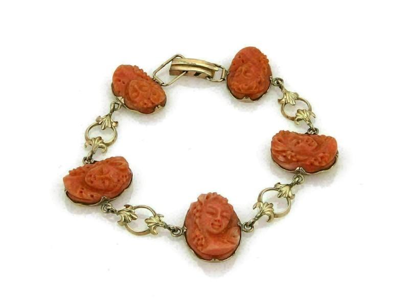 Antique High Relief Women Bust Coral Carved Cameo 14k Rose Gold Bracelet