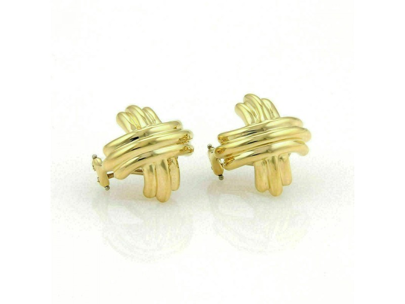 Tiffany & Co. Signature Crossover 18k Yellow Gold Post Clip Earrings
