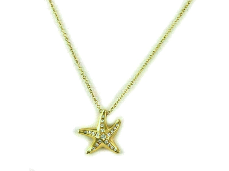 Tiffany & Co. Peretti Diamond 18k Yellow Gold Starfish Pendant Rt. $2,700