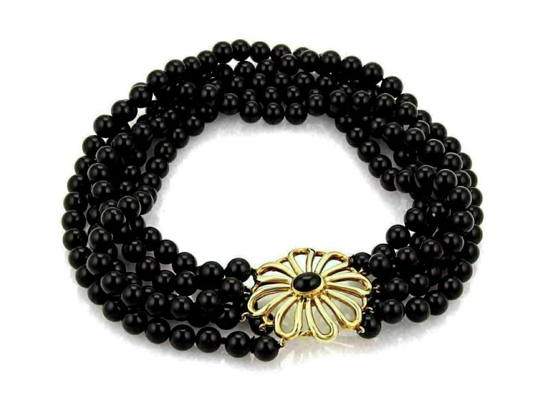 Tiffany & Co. Picasso Onyx 18k Gold 5 Strand 8mm Bead Choker Necklace