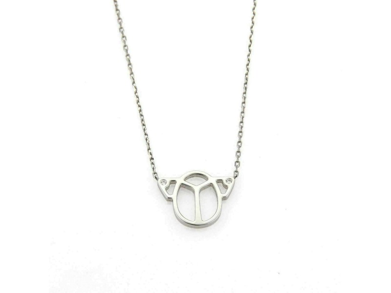 Cartier Diamond 18k White Gold Scarab Pendant