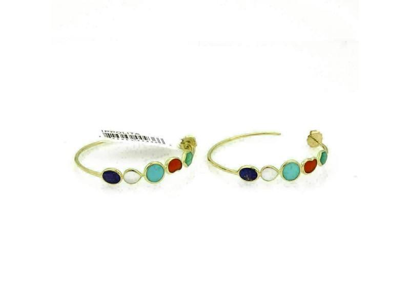 Ippolita Rock Candy 5 Stone Gems 18k Yellow Gold Hoop Earrings