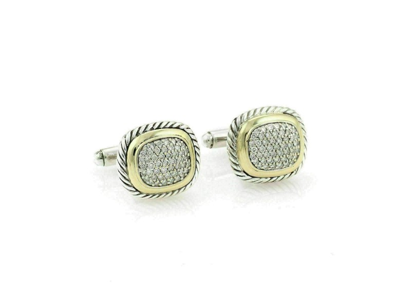 David Yurman Albion Pave Diamonds Sterling & 18k Gold Cable Cufflinks
