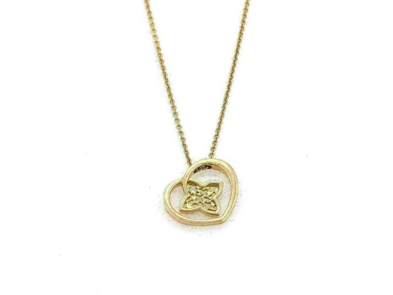 Louis Vuitton Monogram 18k Pink Gold Floral Heart Pendant