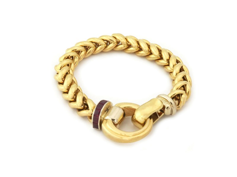 Signoretti Ruby 18k Yellow Stampato Design Gold Woven Link Bracelet