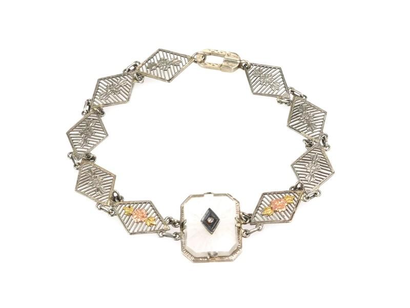 Art Deco 14k Rose White Yellow Gold Diamond Camphor Glass Link Bracelet