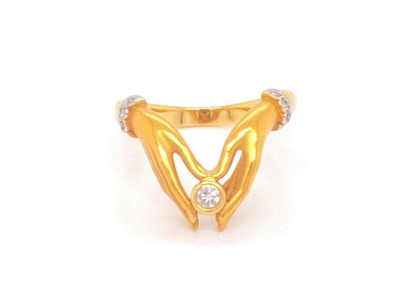 Carrera y Carrera Diamond 18k Yellow Gold Detailed 2 Hands Ring