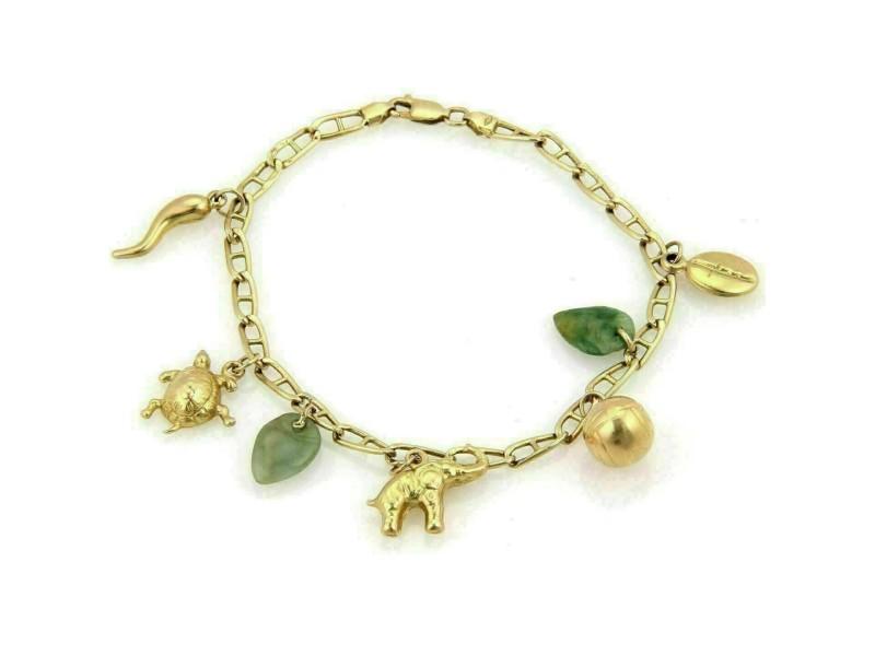 Vintage 14k Yellow Gold Jadeite & Assorted Seven Charms Bracelet