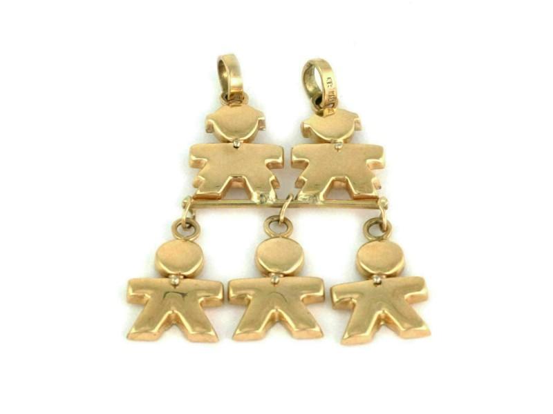 Five Kids Charm Double Bail 14k Yellow Gold Dangling Charm Pendant