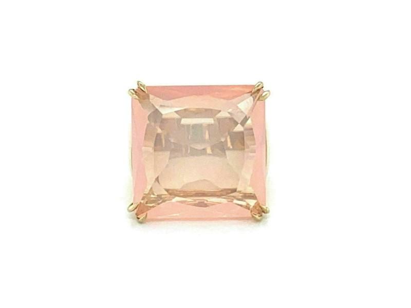 Large Pink Quartz Diamond Square Top 18k Yellow Gold Ring