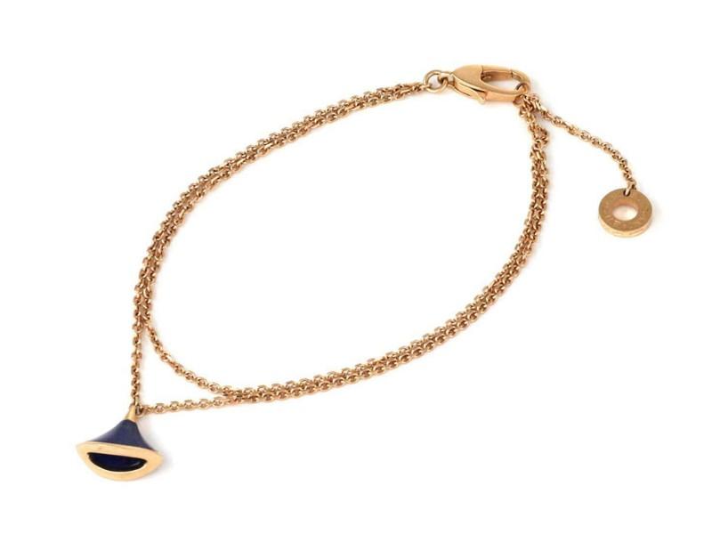 Bvlgari Diva's Dream Lapis 18k Rose Gold Flare Bell Charm Double Chain Bracelet