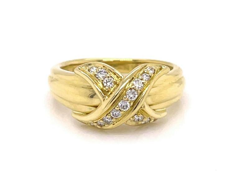 Tiffany & Co. Signature X Diamond 18k Yellow Gold Ring