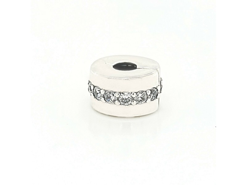 PANDORA Steeling Silver 925 ALE  White CZ Lock Bead Charm 2 Piece