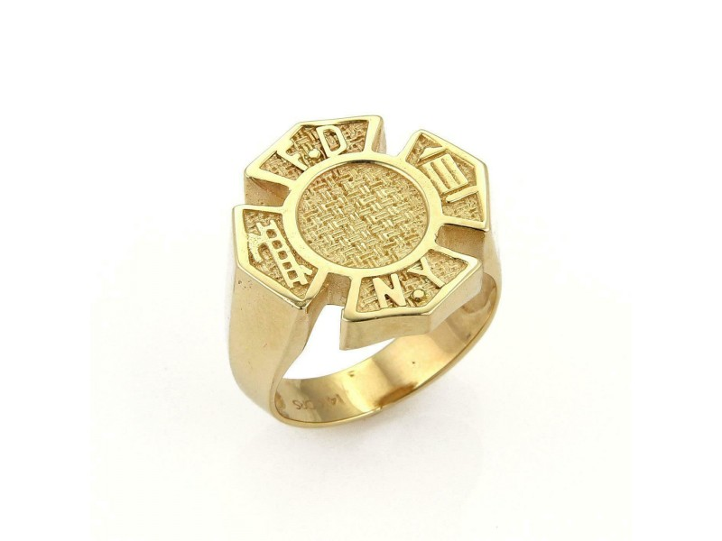 NY Fire fighter Textured Fancy Design 14k Yellow Gold Ring