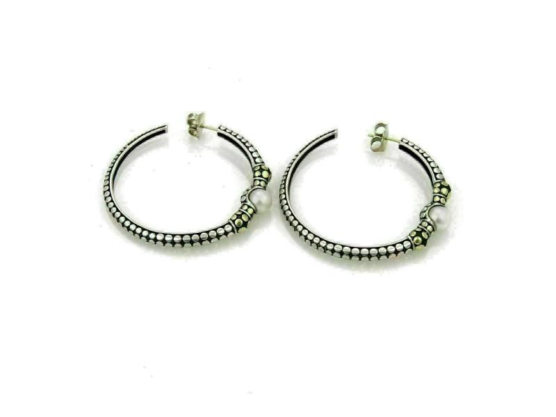 John Hardy Dots Pearls Sterling & 18k Yellow Gold Large Hoop Earrings