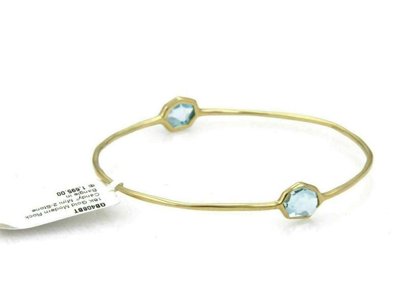 Ippolita Rock Candy 2 Tone Blue Topaz 18k Yellow Gold Bangle Rt. $1,695
