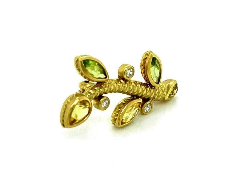 Judith Ripka Diamond & Gems 18k Yellow Gold Leaf Stem Brooch