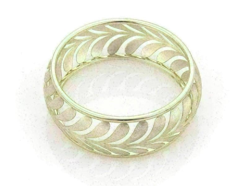 Tiffany & Co. Villa Paloma Wide Palm Sterling Silver Bangle -Medium