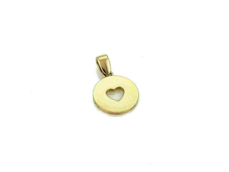 Cartier 18k Yellow Gold Heart Stencil Disc Charm