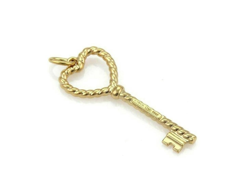 Tiffany & Co. 18k Yellow Gold Twisted Wire Heart Key Pendant