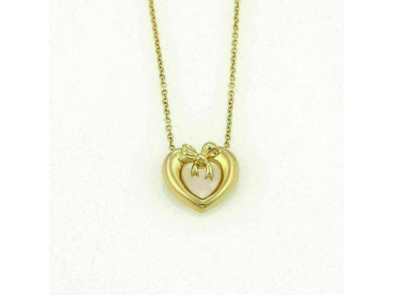 Tiffany & Co. 18k Yellow Gold Heart & Bow Pendant