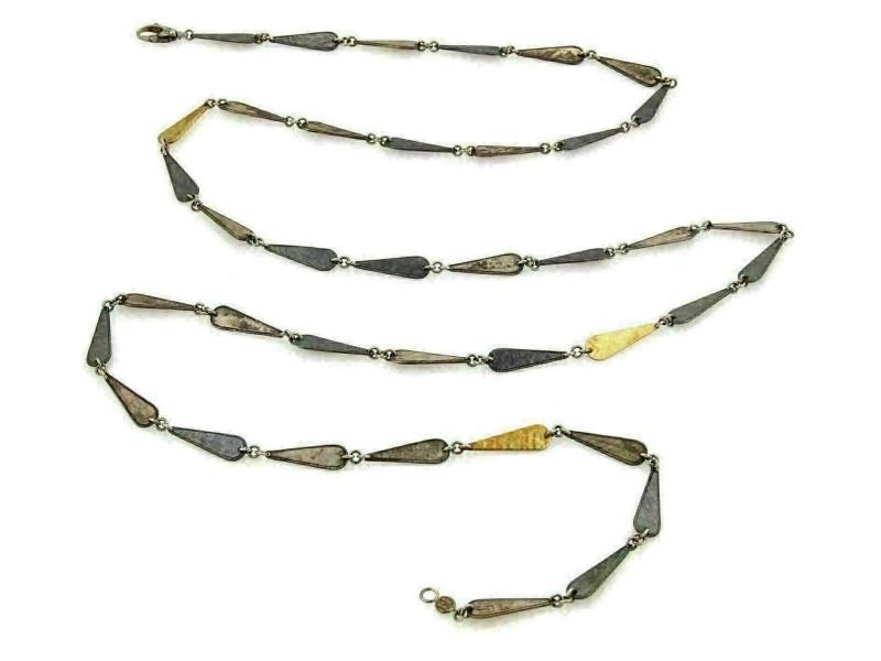 Gorhan Contour 24k Gold & Darkened Sterling Silver Long Link Necklace
