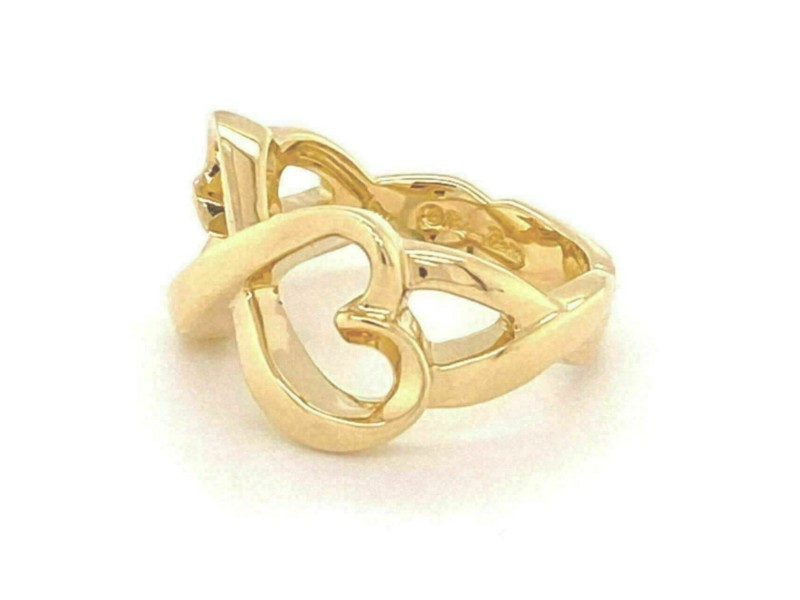 Tiffany & Co. Picasso Infinity 18k Yellow Gold Double Hearts Band Ring