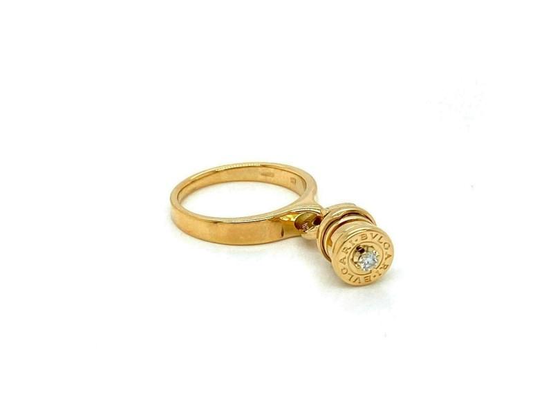 Bvlgari B.zero1 Diamond 18k Yellow Gold Mini Dangle Charm Band Ring