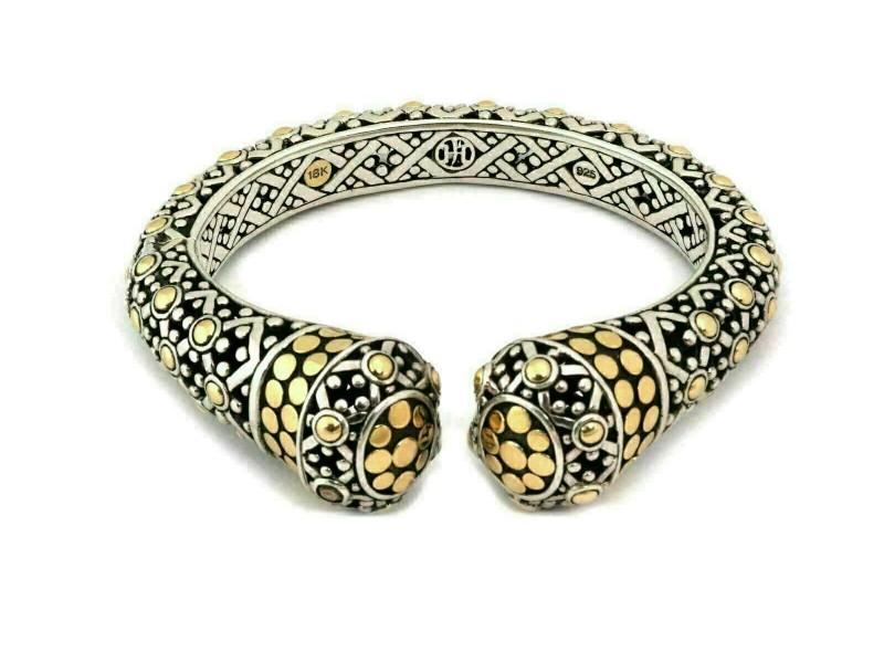 John Hardy Jaisalmer Dot 18k Yellow Gold & Sterling Silver Kick Cuff Bracelet