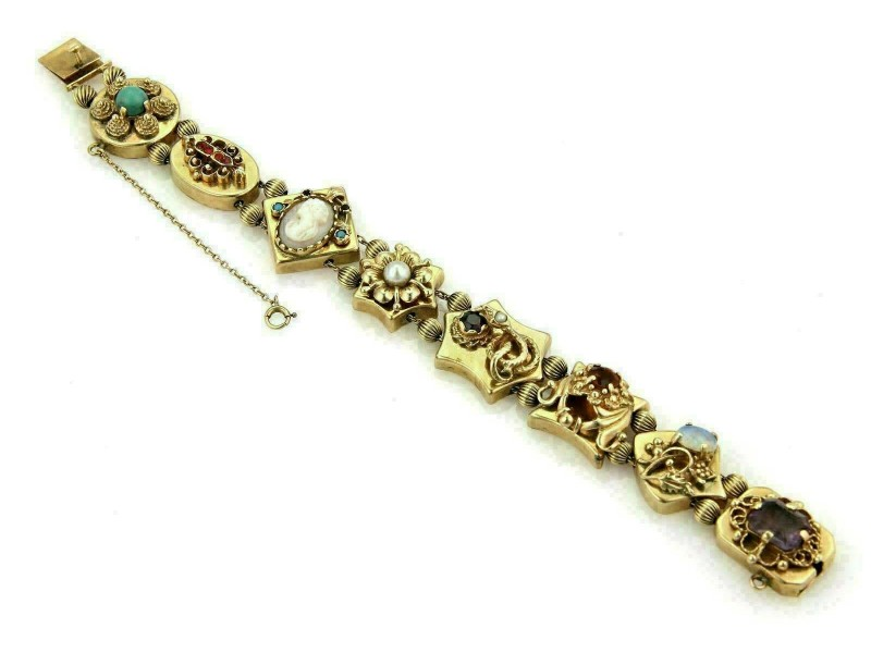 Estate Opal Amethyst Cameo Garnet 8 Charms 14k Yellow Gold Slide Bracelet