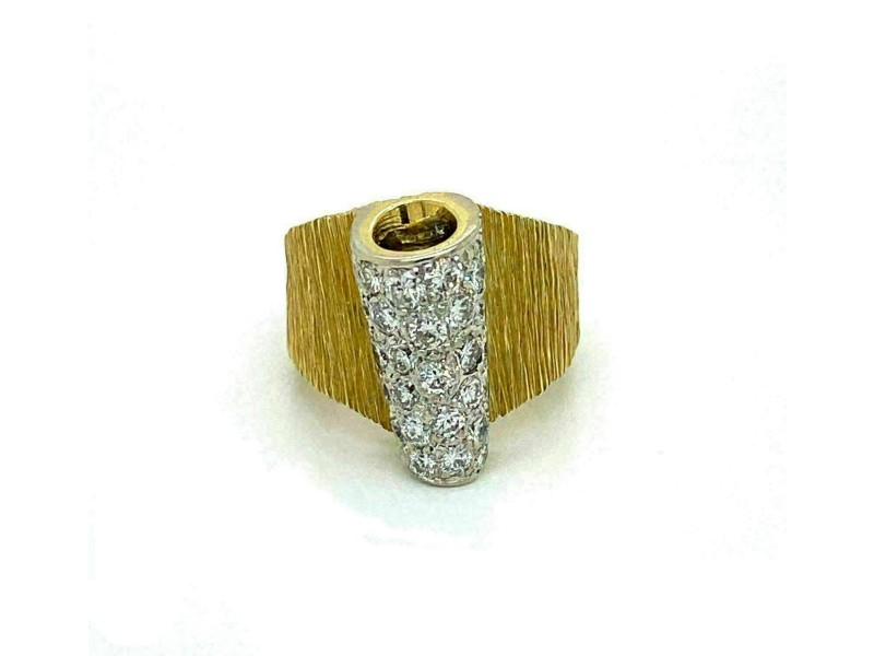 Henry Dunay 2.00ct Diamond 18k Gold Fancy Textured Wide Band Ring