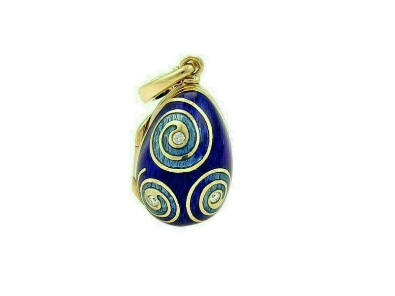 Faberge Limited Edition Victor Mayor Diamond Enamel 18k Gold Egg Charm Opens Up