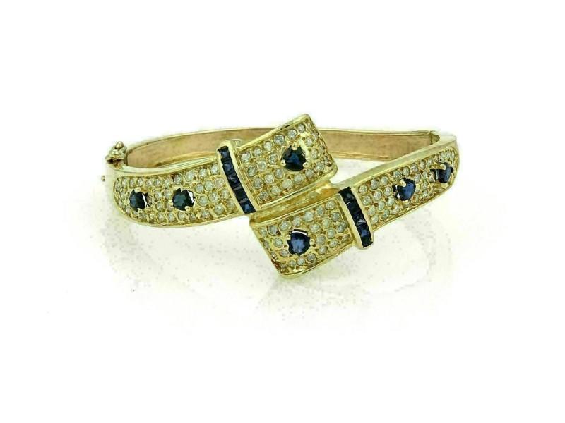 Estate 3.75ct Diamond & Sapphire 14k Yellow Gold Hinged Bypass Bracelet