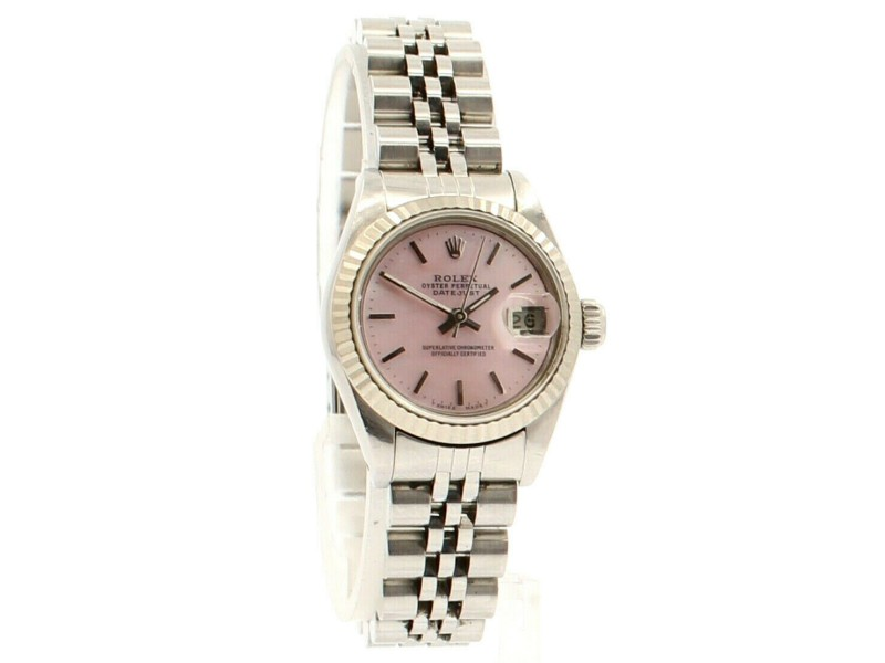 ROLEX Oyster Perpetual Stainles Steel Datejust 26mm PINK MOP Dial Watch