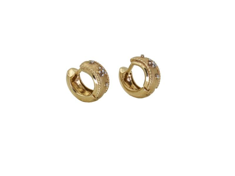 Small Hoop Earrings in 14k Yellow Gold Signed Designer Flower Huggies