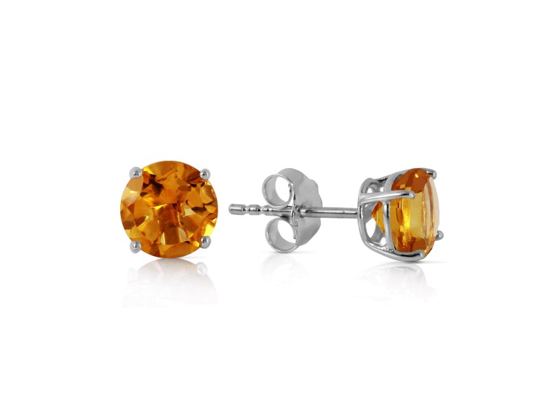 0.95 CTW 14K Solid White Gold Time And Tenderness Citrine Earrings