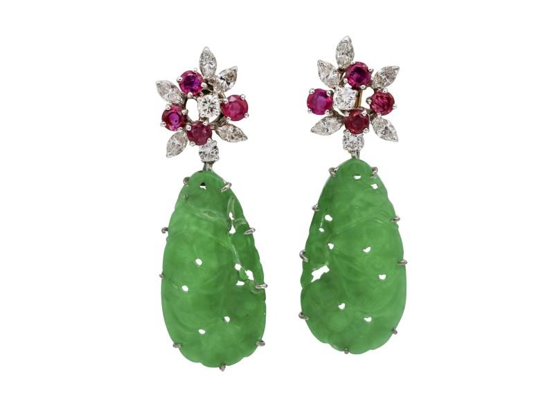 Art Deco Carved Jade Ruby Diamond Dangle Earrings in 14k Gold