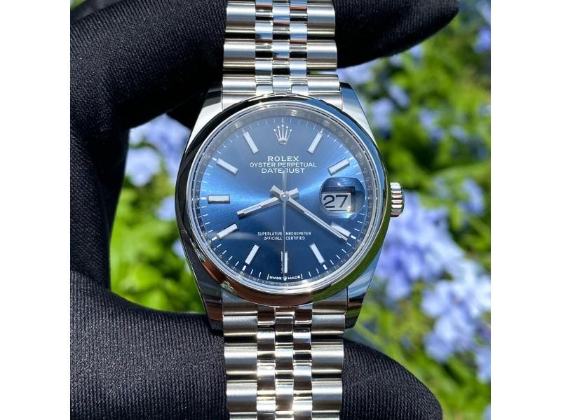 Rolex 126200 Datejust Blue Stick Dial Jubilee Bracelet Stainless Steel Watch