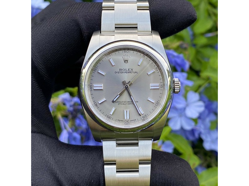 Rolex 116000 Datejust Silver Stick Dial Oyster Bracelet Stainless Steel Watch