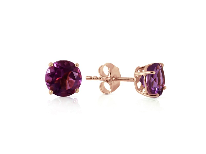0.95 CTW 14K Solid Rose Gold Petite Amethyst Stud Earrings
