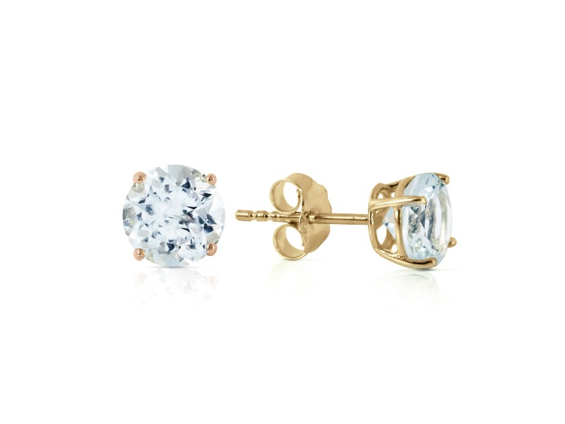 0.95 CTW 14K Solid Gold Wondrous Sea Aquamarine Earrings