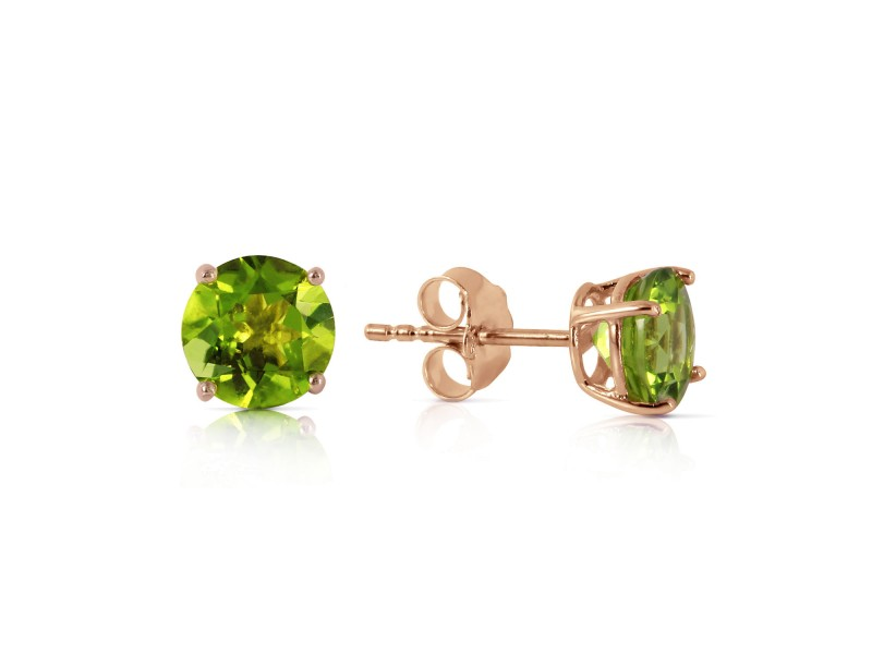 0.95 CTW 14K Solid Rose Gold Petite Peridot Stud Earrings