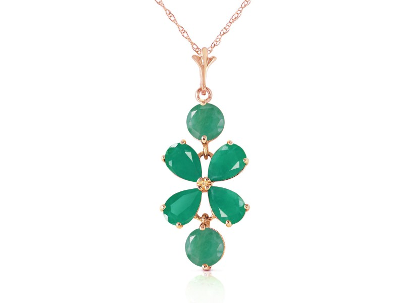 3.15 CTW 14K Solid Rose Gold Petals Emerald Necklace