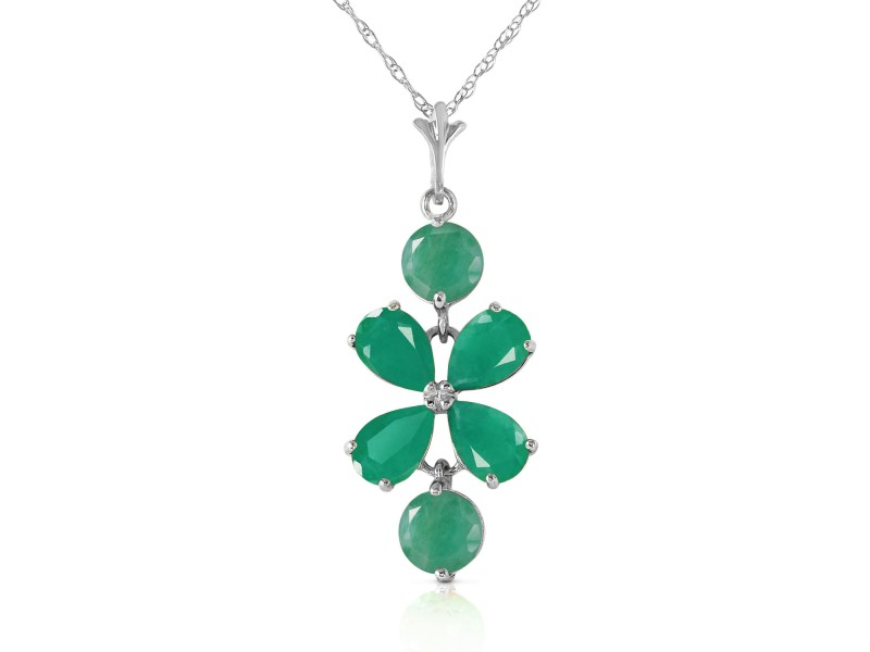 3.15 CTW 14K Solid White Gold Delicate Leaf Emerald Necklace