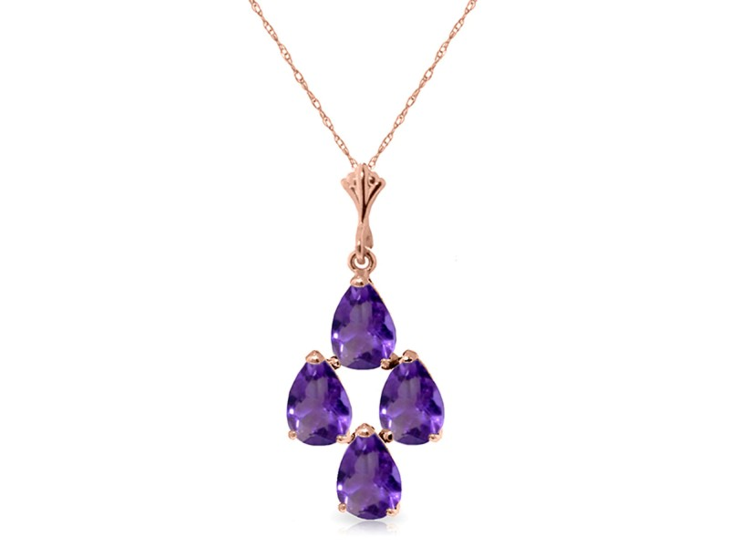 1.5 CTW 14K Solid Rose Gold Pyramid Amethyst Necklace