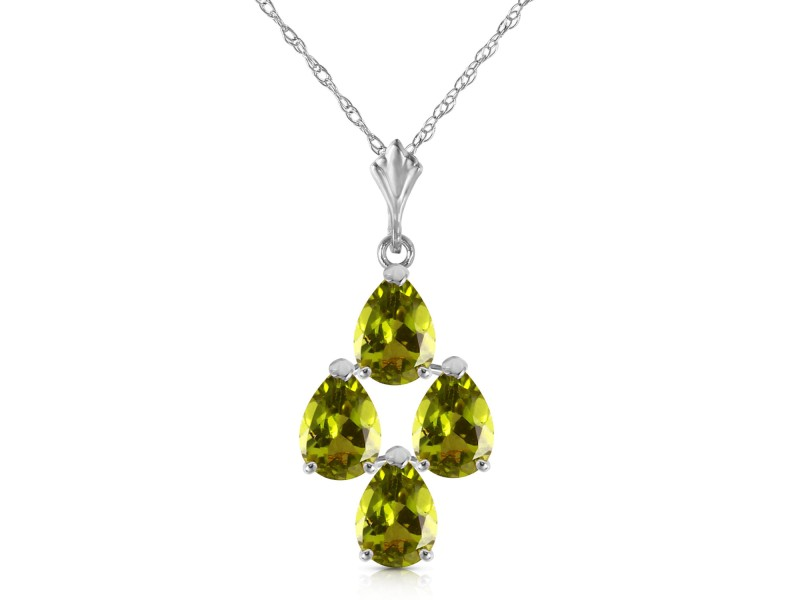 2.25 CTW 14K Solid White Gold Extended Presence Peridot Necklace