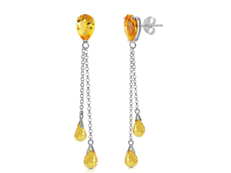 7.5 CTW 14K Solid White Gold You Are My Home Citrine Earrings