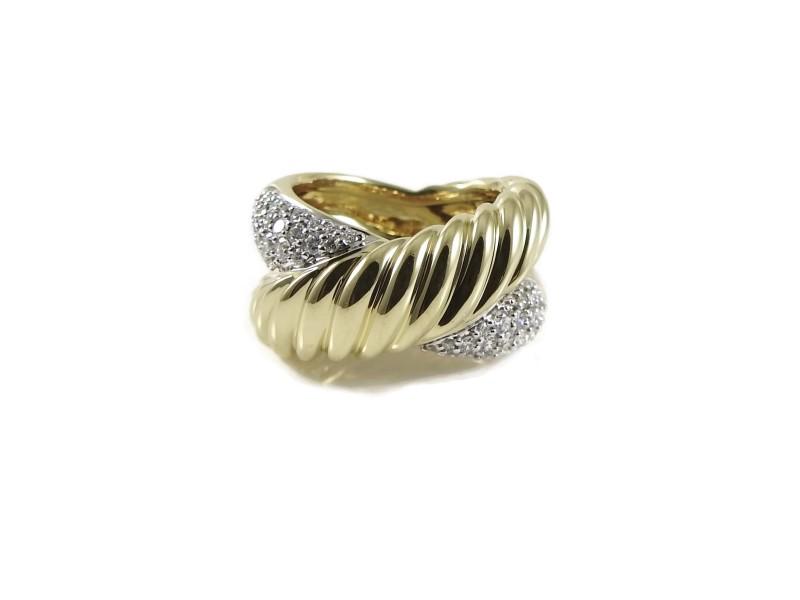 David Yurman 18K Yellow Gold .54tcw Diamond X Ring Size 6