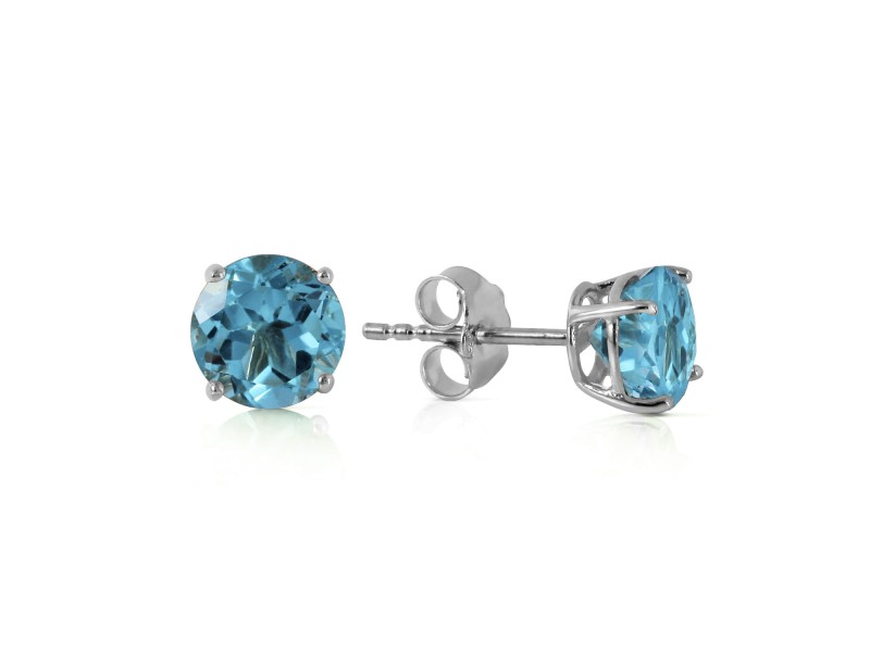 0.95 CTW 14K Solid White Gold Welcome Light Blue Topaz Earrings